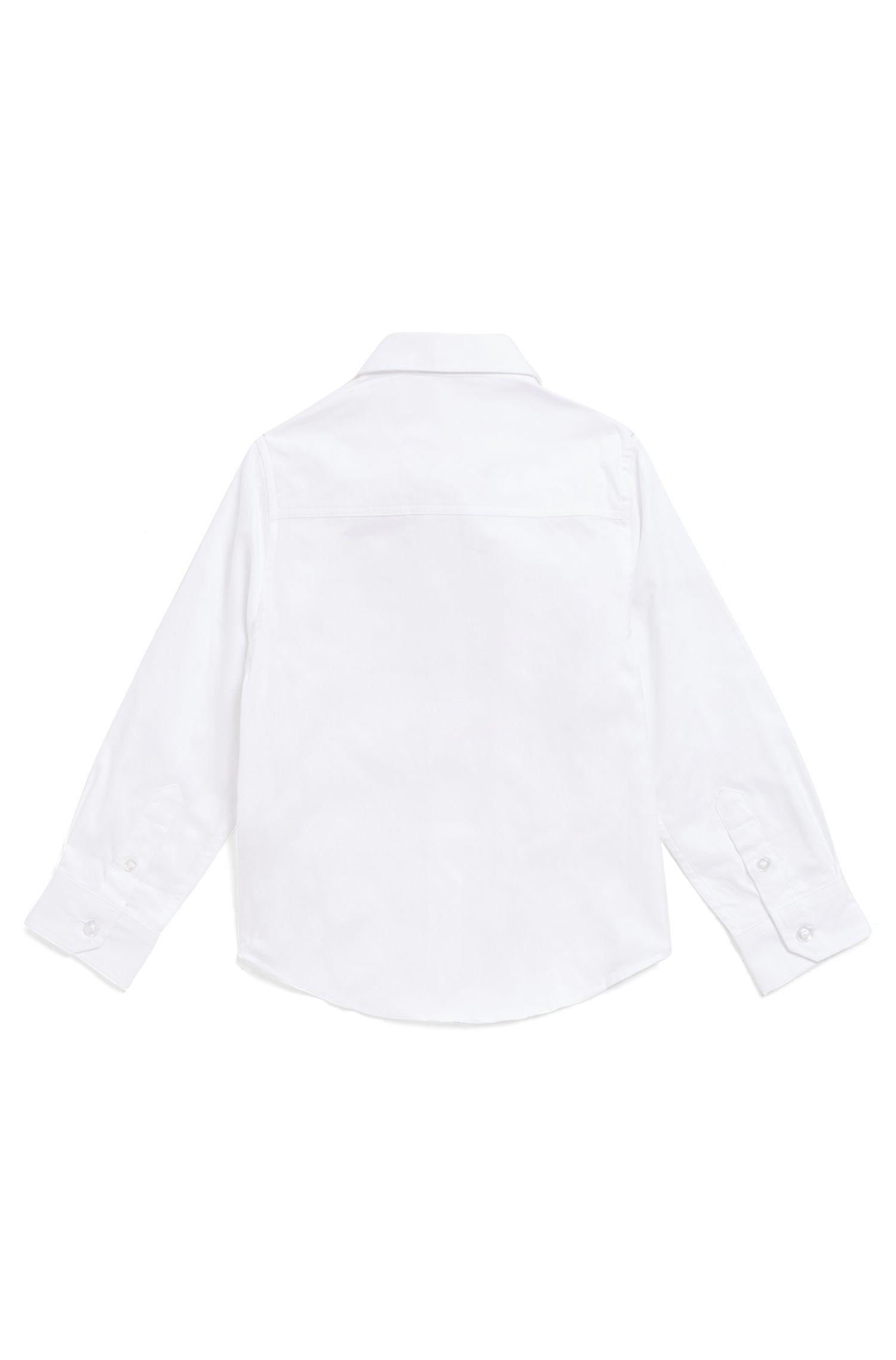 Camisa de manga larga para niños con logo bordado, Blanco