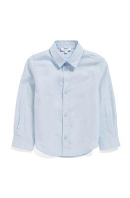 Chemise à manches longues pour enfant avec logo brodé, Bleu vif