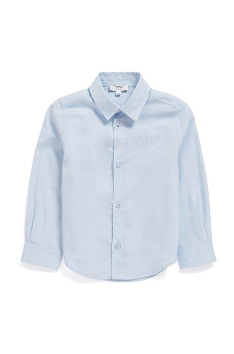 Overhemd voor kinderen met lange mouwen en logostiksel, Lichtblauw