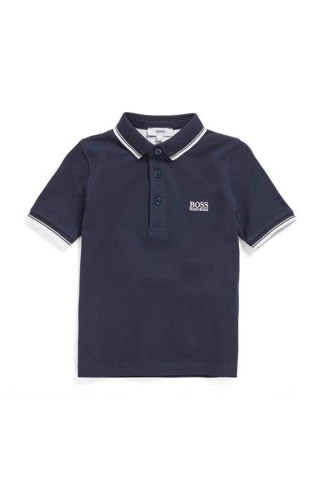 Kids-Poloshirt aus Baumwolle mit Relief-Print-Logo, Dunkelblau