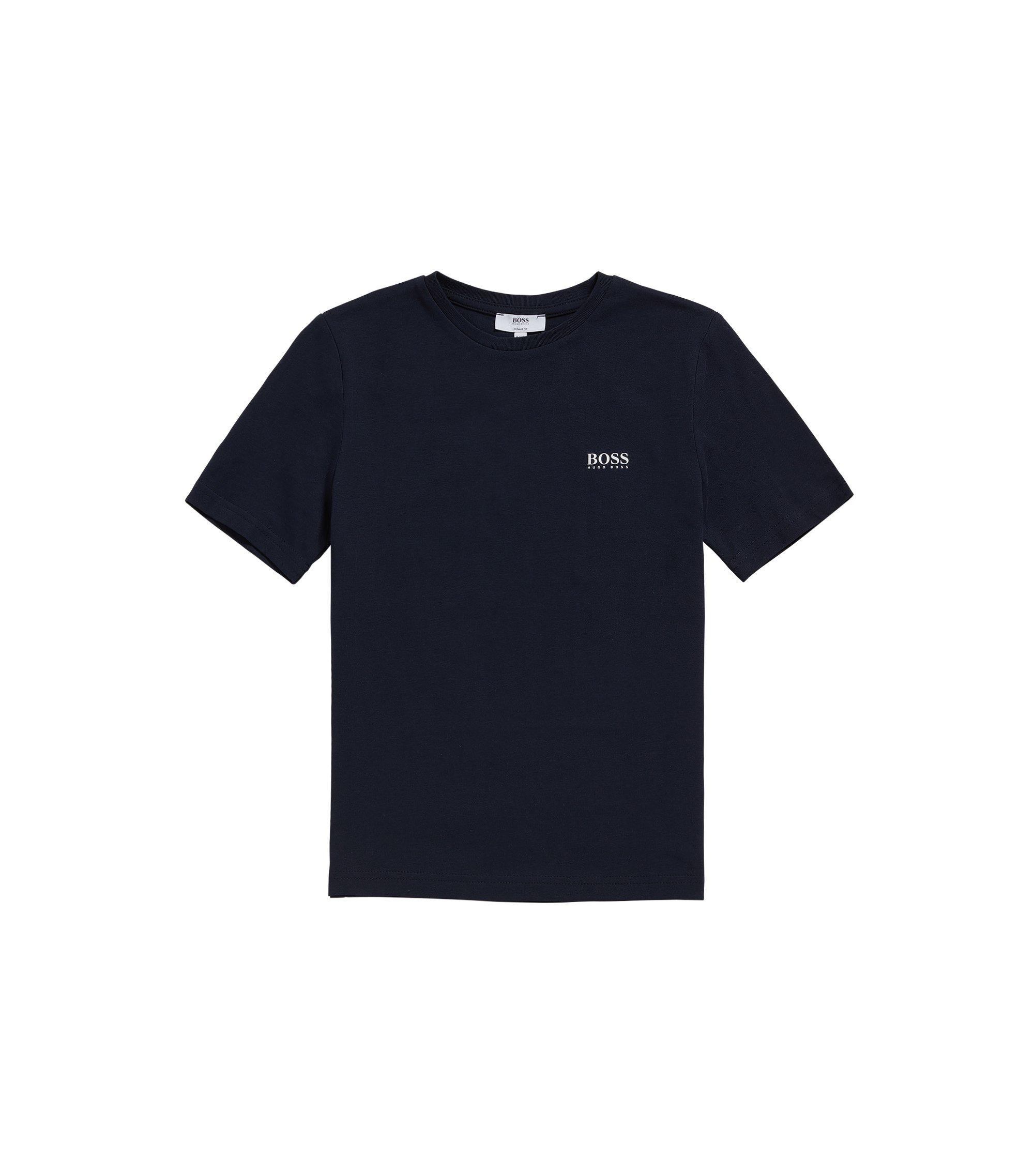 Kindershirt van katoen met ronde hals: 'J25V00', Donkerblauw