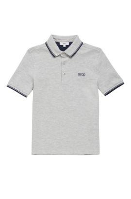 Polo pour enfant en coton, à manches courtes: «J25V10», Gris chiné