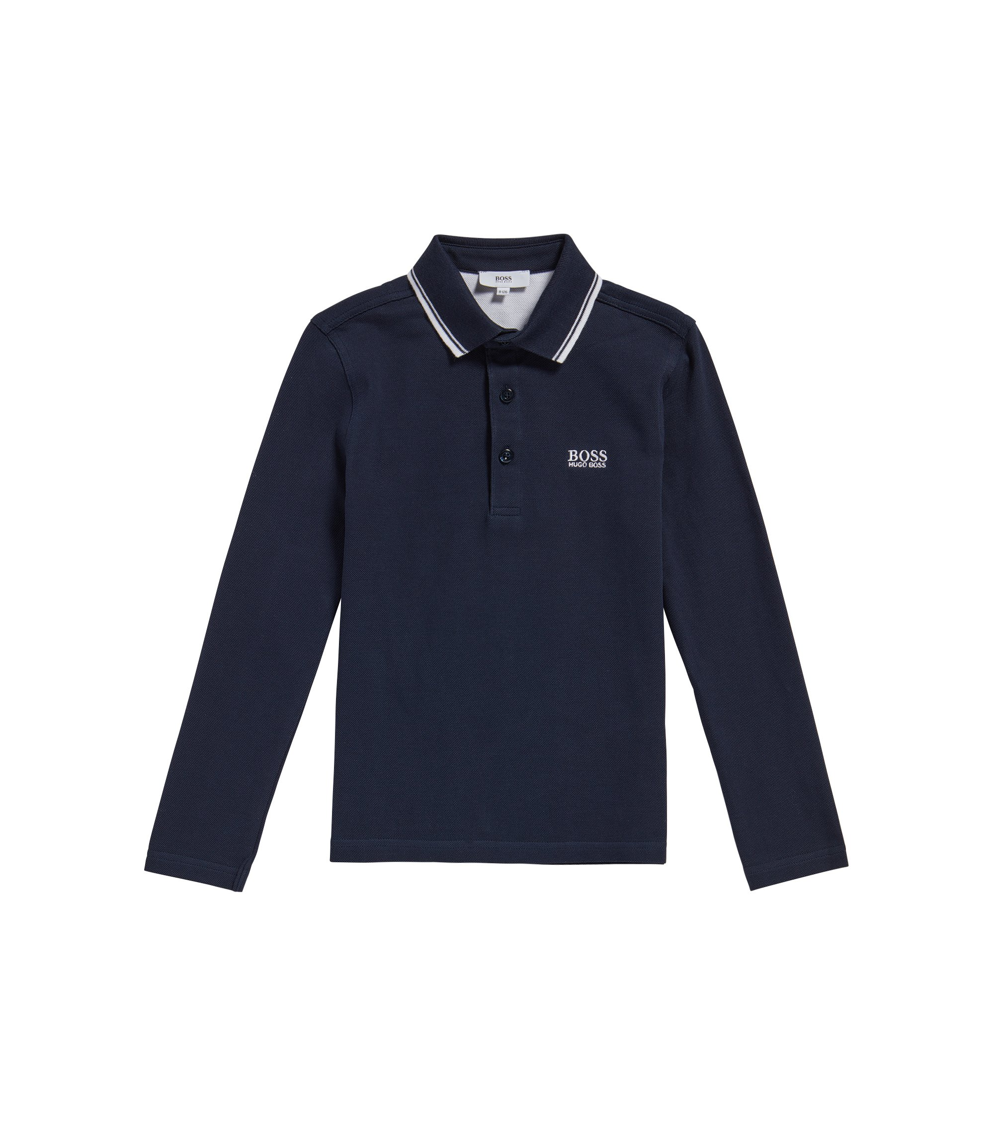 Kids' polo shirt in cotton with striped details: 'J25V24', Dark Blue