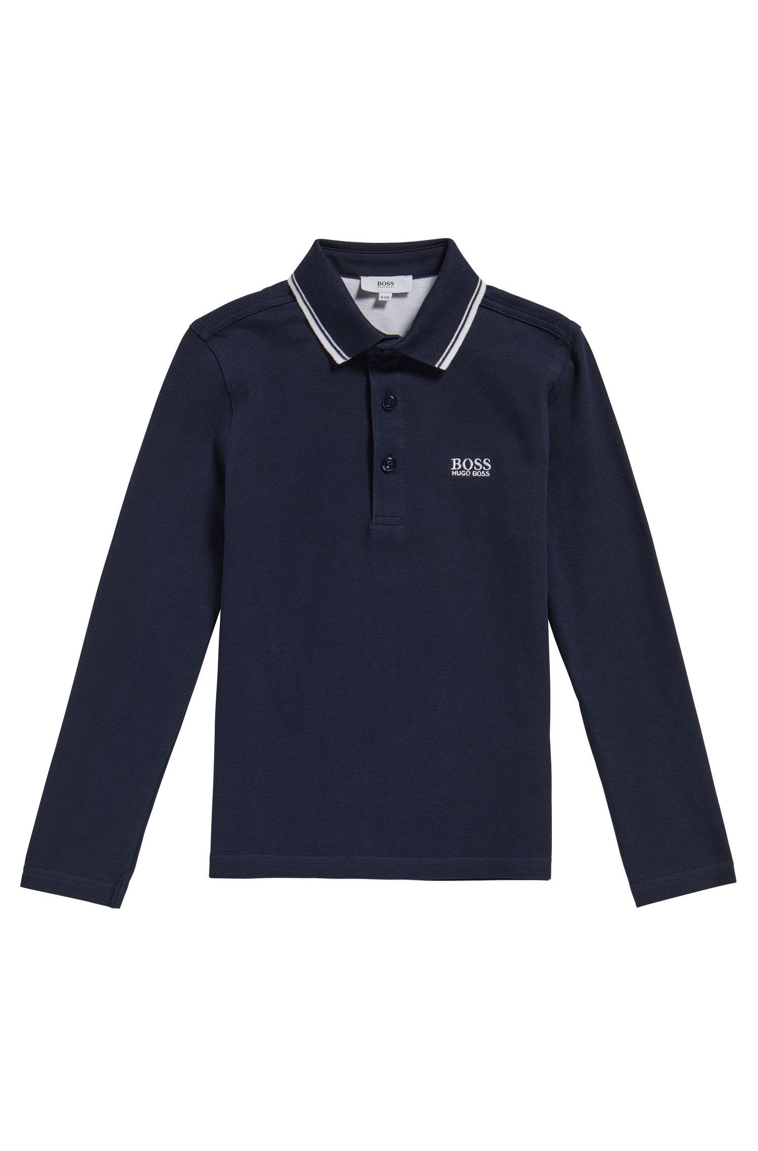 Kids-Poloshirt aus Baumwolle mit Streifen-Details: 'J25V24'
