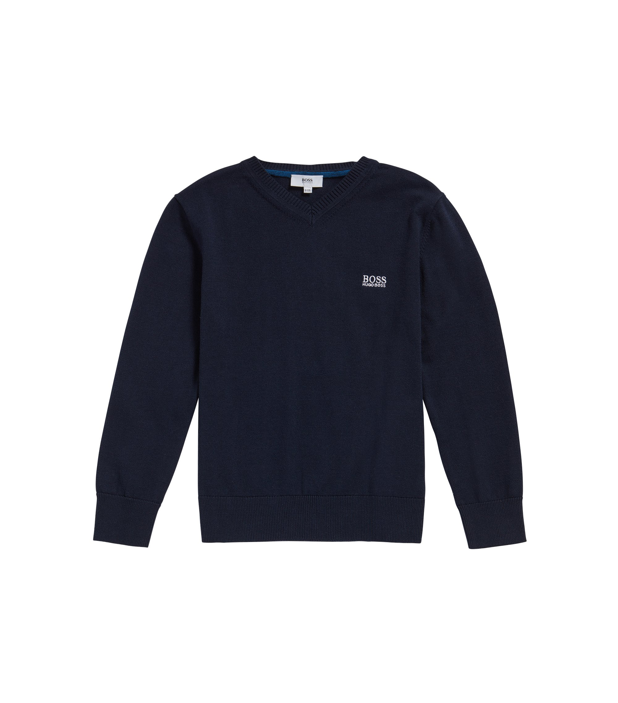 Kids' sweater in cotton with V-neck: 'J25V55', Dark Blue