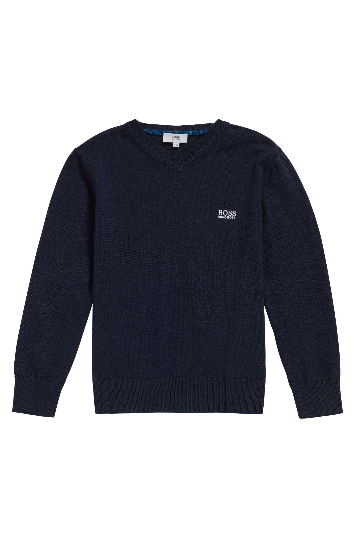 Kids' sweater in cotton with V-neck: 'J25V55'