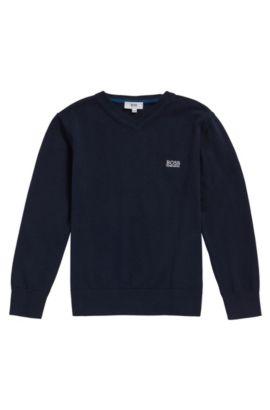 Kids-Pullover aus Baumwolle mit V-Ausschnitt: 'J25V55', Dunkelblau