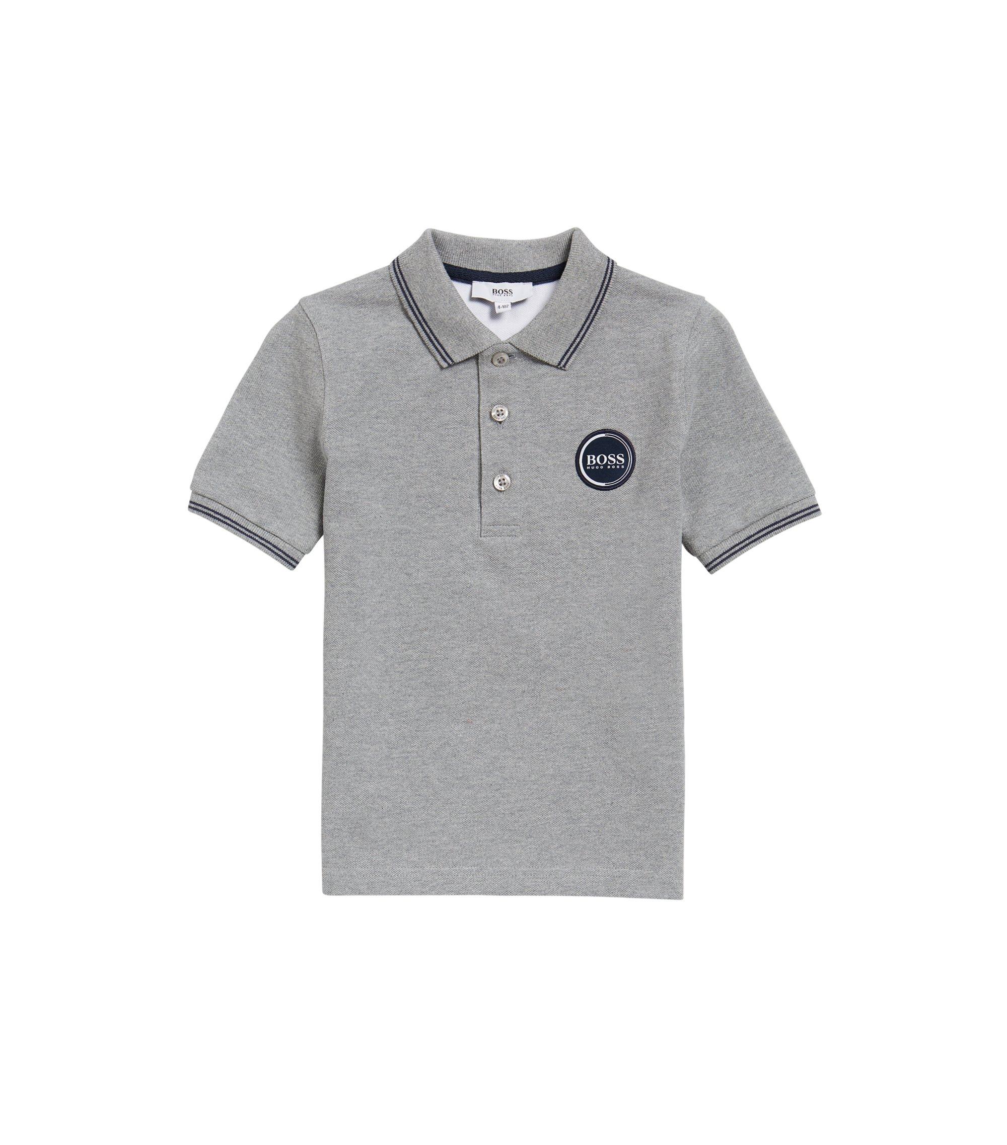 Kids' polo shirt in cotton piqué, Light Grey