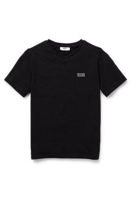 Kids-T-Shirt aus Stretch-Baumwolle mit V-Ausschnitt und Logo-Stickerei, Schwarz