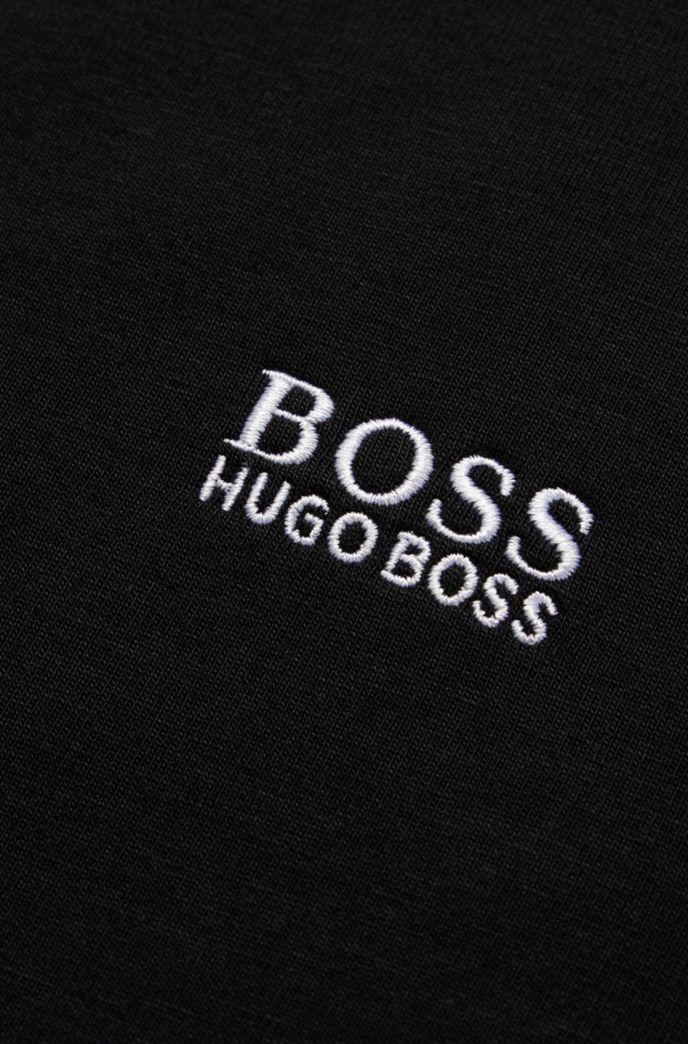 Kids-T-Shirt aus Stretch-Baumwolle mit V-Ausschnitt und Logo-Stickerei