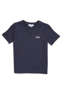 Camiseta de cuello en pico para niños en algodón elástico con logo bordado, Azul oscuro