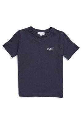 T-shirt pour enfant en coton stretch, à col V et logo brodé, Bleu foncé