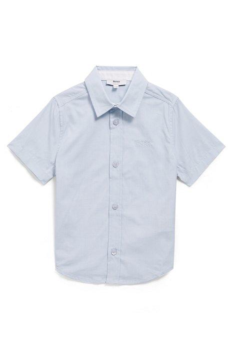 Chemise à manches courtes en coton pour enfant, avec logo brodé, bleu clair