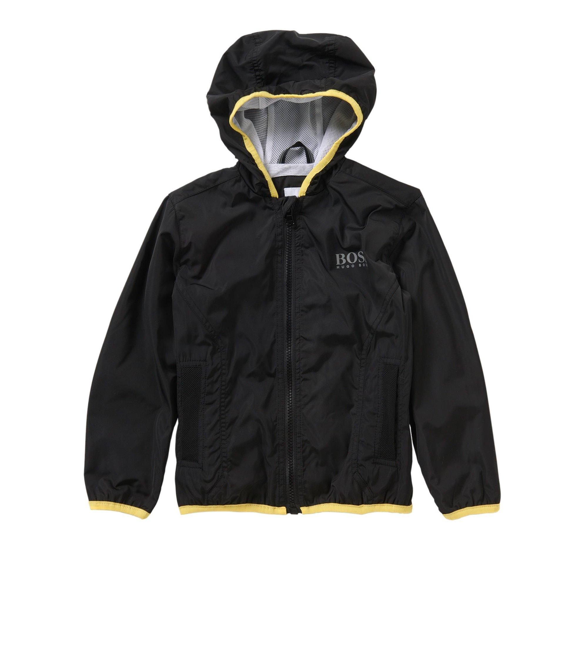 Blouson pour enfant en coton mélangé extensible à capuche: «J26272», Noir