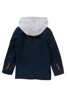 Americana para niños en algodón con aplique extraíble: 'J26276', Azul oscuro
