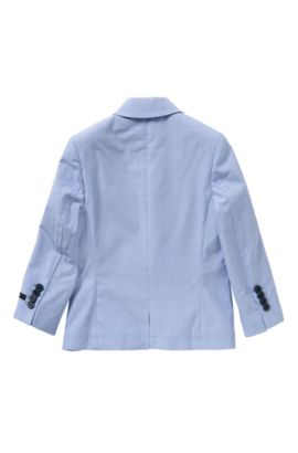 Finely checked kids' jacket in cotton with integral pocket square: 'J26277', Light Blue