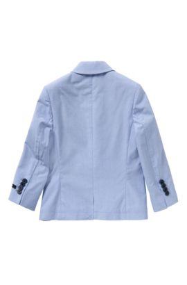 Americana para niños con cuadros finos y un pañuelo de bolsillo integrado: 'J26277', Celeste