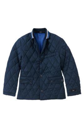 Slim-fit gewatteerde kinderjas van katoen met een effen dessin: 'J26279', Donkerblauw