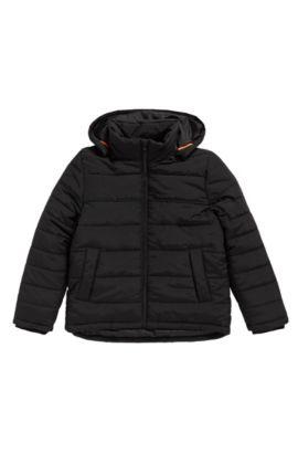 Cazadora para niños en mezcla de materiales con capucha desmontable: 'J26282', Negro