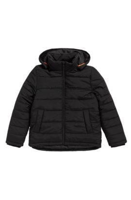 Kids' jacket in material blend with detachable hood: 'J26282', Black