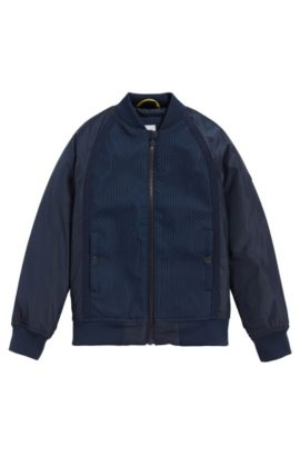 Kids' jacket in mixed materials with patterned details: 'J26292', Dark Blue