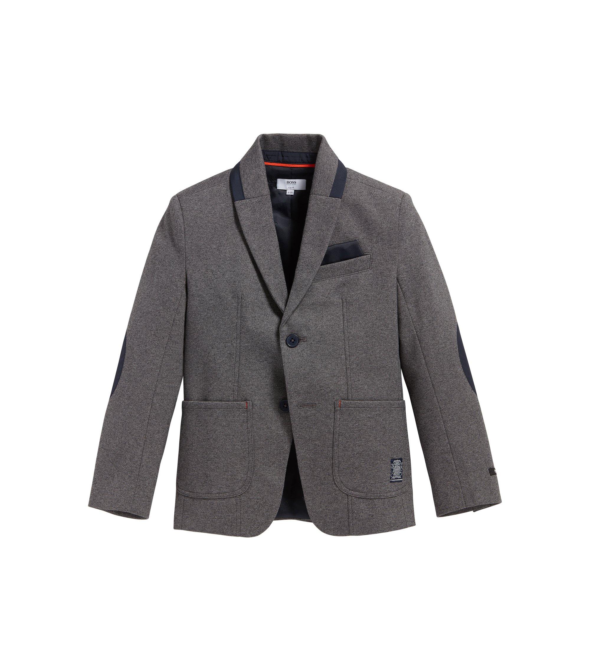 Veste de costume pour enfant en coton mélangé extensible, à coudières: «J26293», Gris sombre