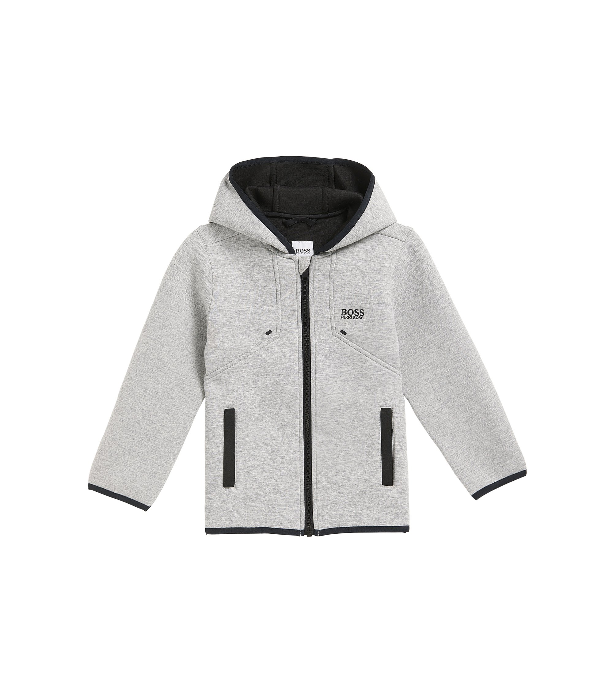 Regular-Fit Kids-Jacke aus gebondetem Material-Mix, Hellgrau