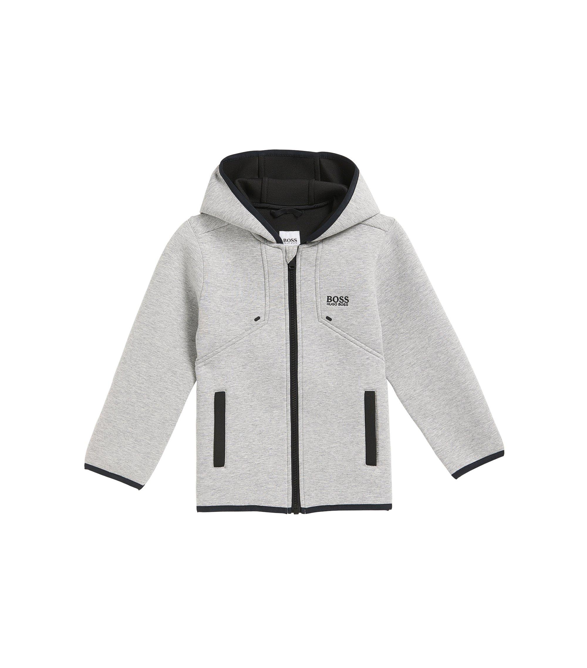 Manteau Regular Fit pour enfant en tissu stretch thermocollé, Gris chiné