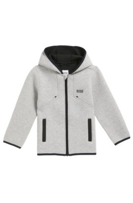 Manteau Regular Fit pour enfant en tissu stretch thermocollé, Gris chiné