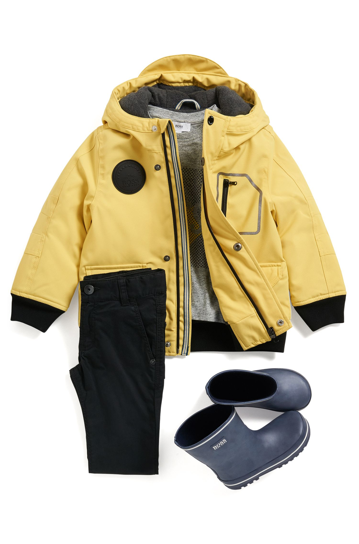 Kids' regular-fit hooded parka in technical fabric