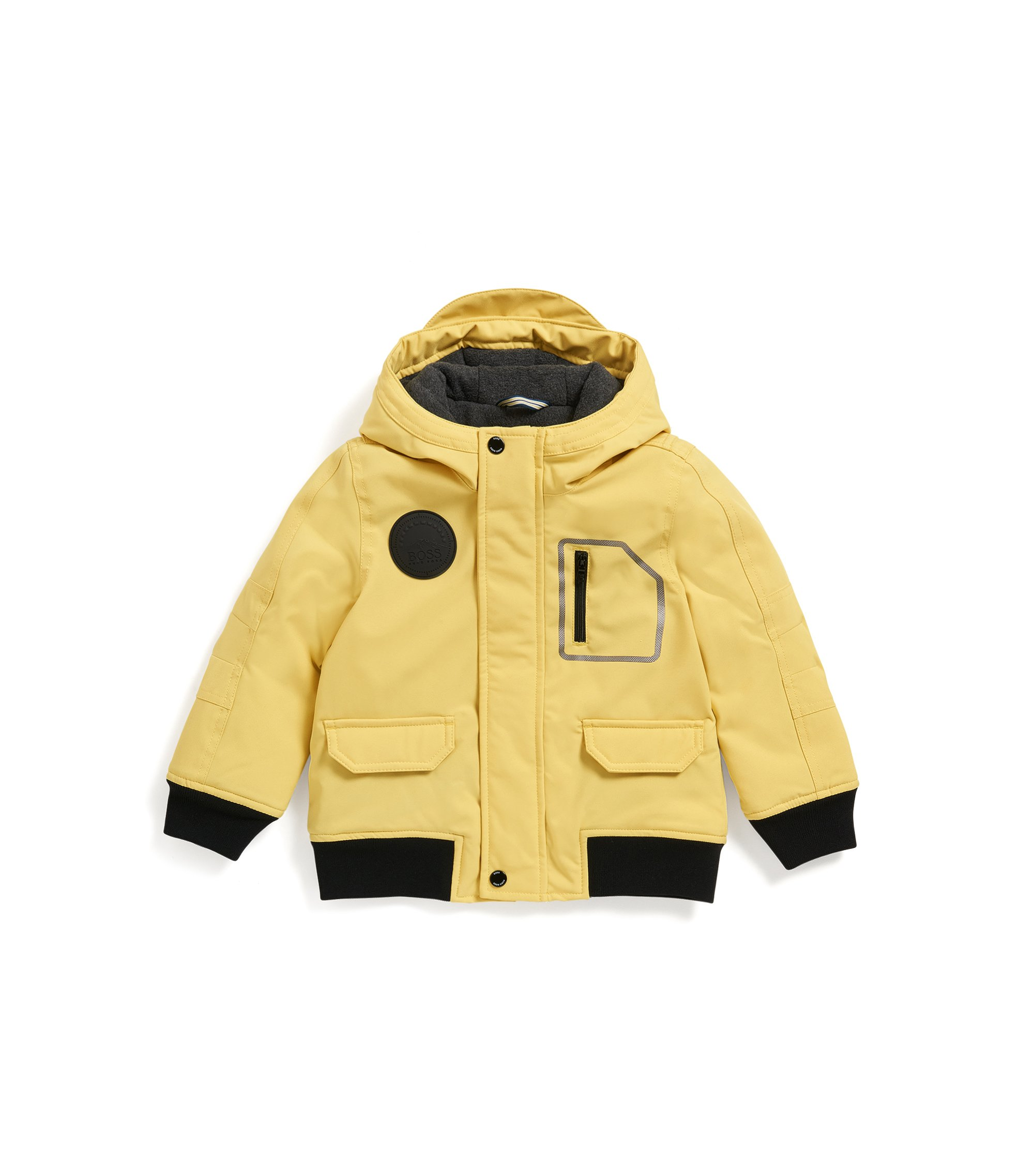 Regular-Fit Kids-Parka aus Material-Mix mit Kapuze, Gelb