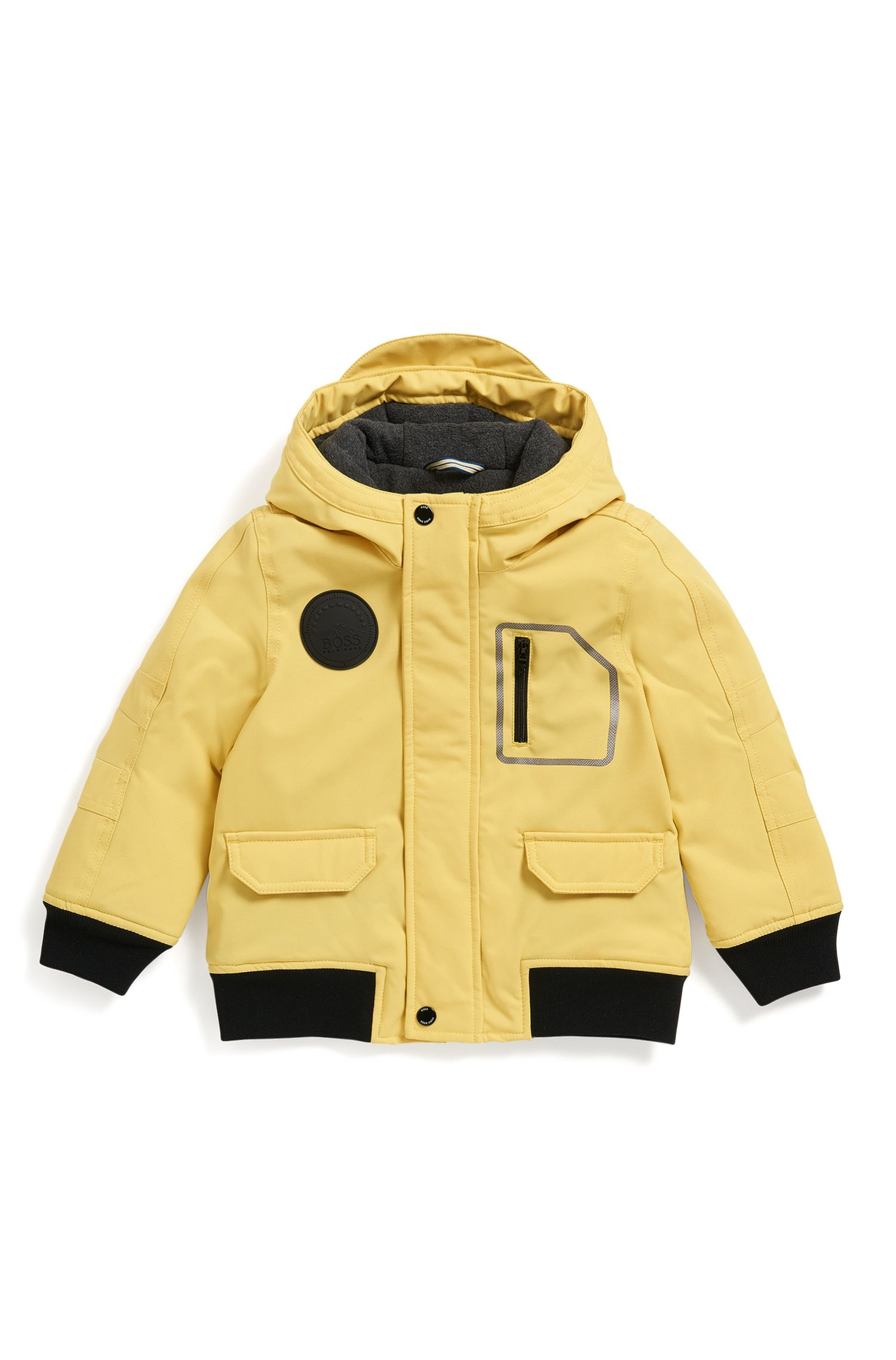 Regular-Fit Kids-Parka aus Material-Mix mit Kapuze