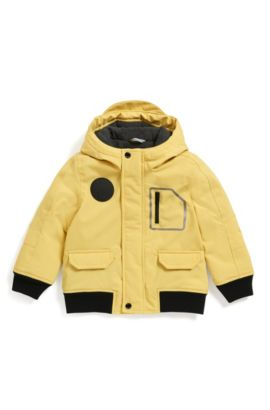 Kids' regular-fit hooded parka in technical fabric, Yellow