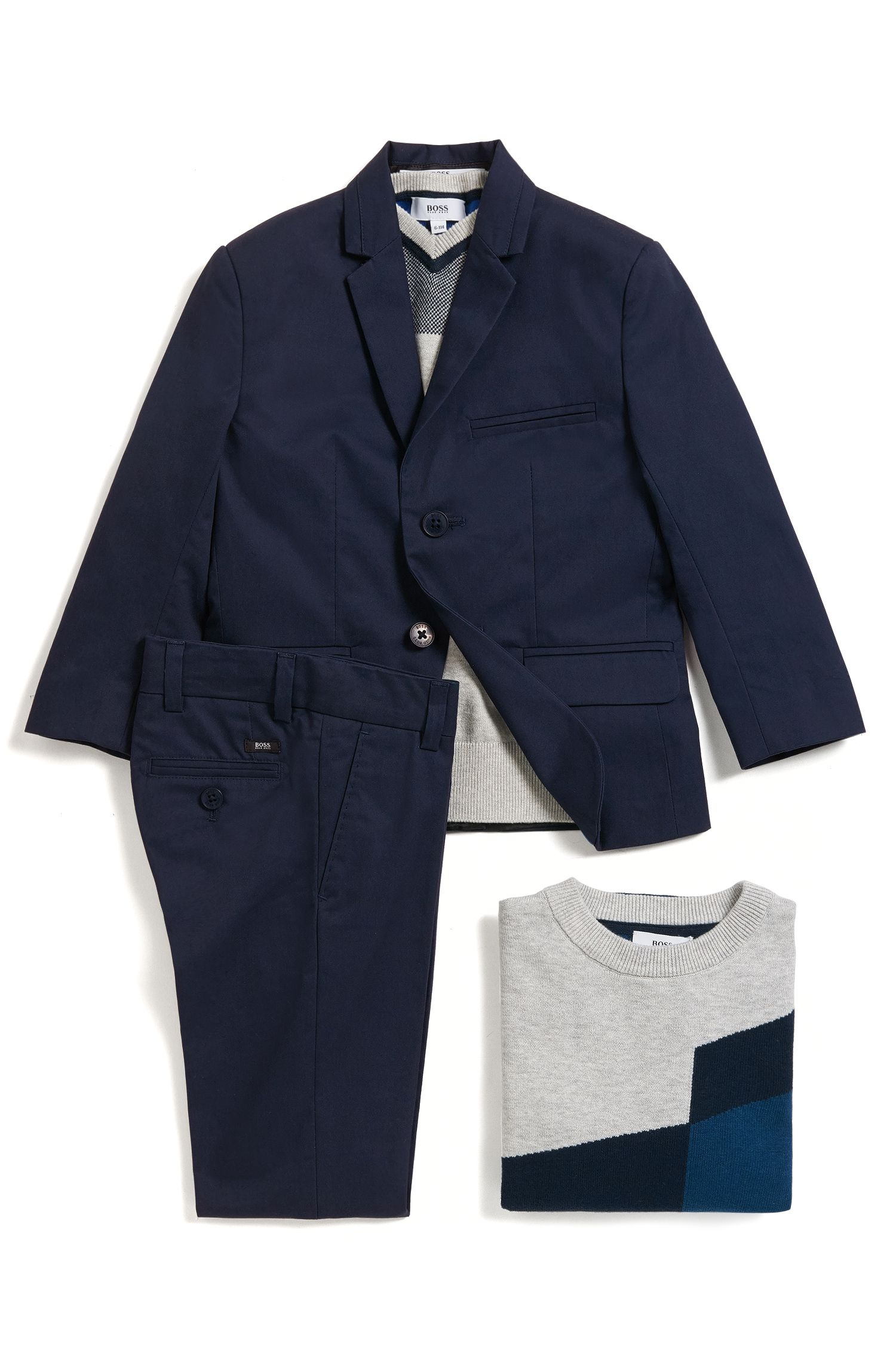 Regular-Fit Kids-Sakko aus Baumwoll-Twill