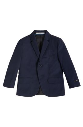 Kids' regular-fit suit jacket in cotton twill, Dark Blue