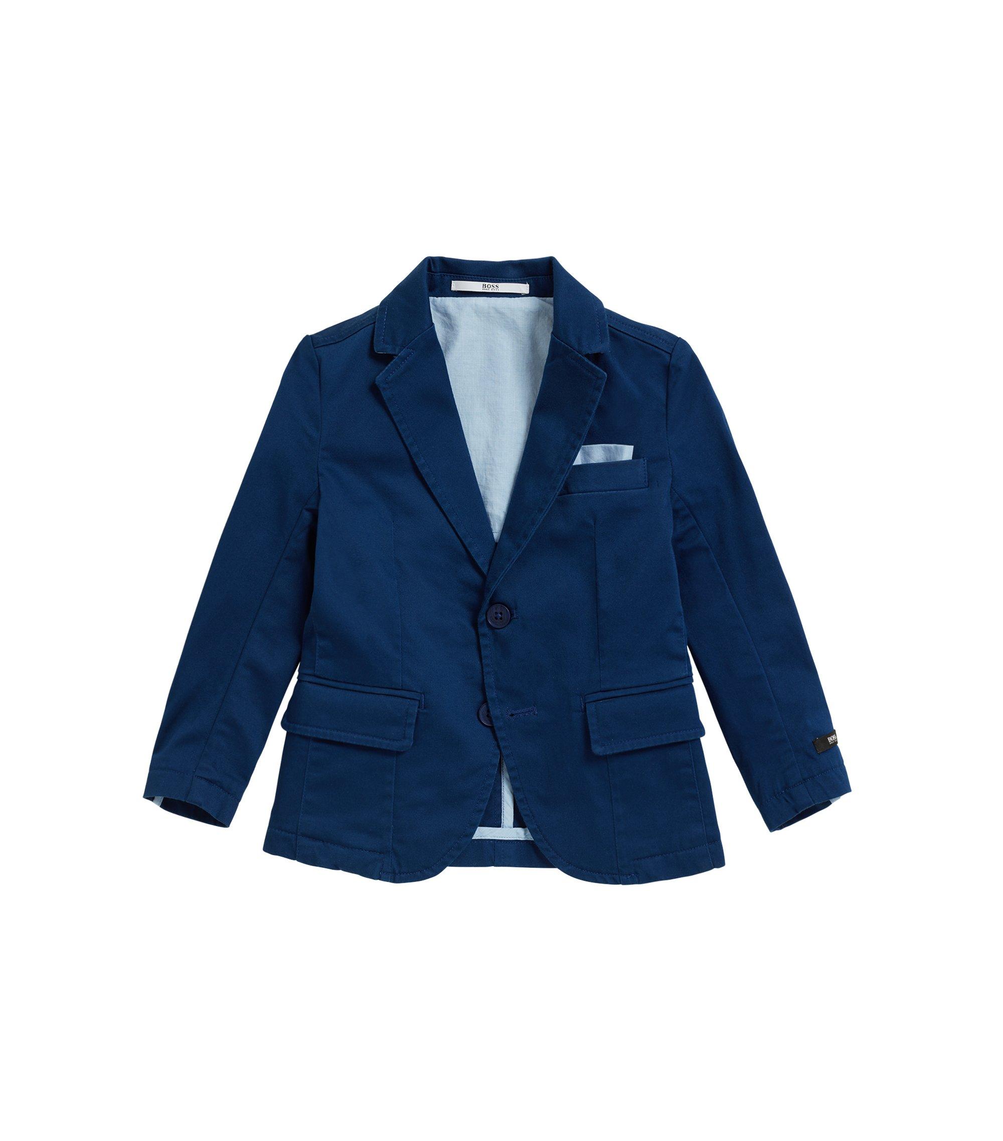 Veste de costume pour enfant en satin de coton stretch, Bleu foncé