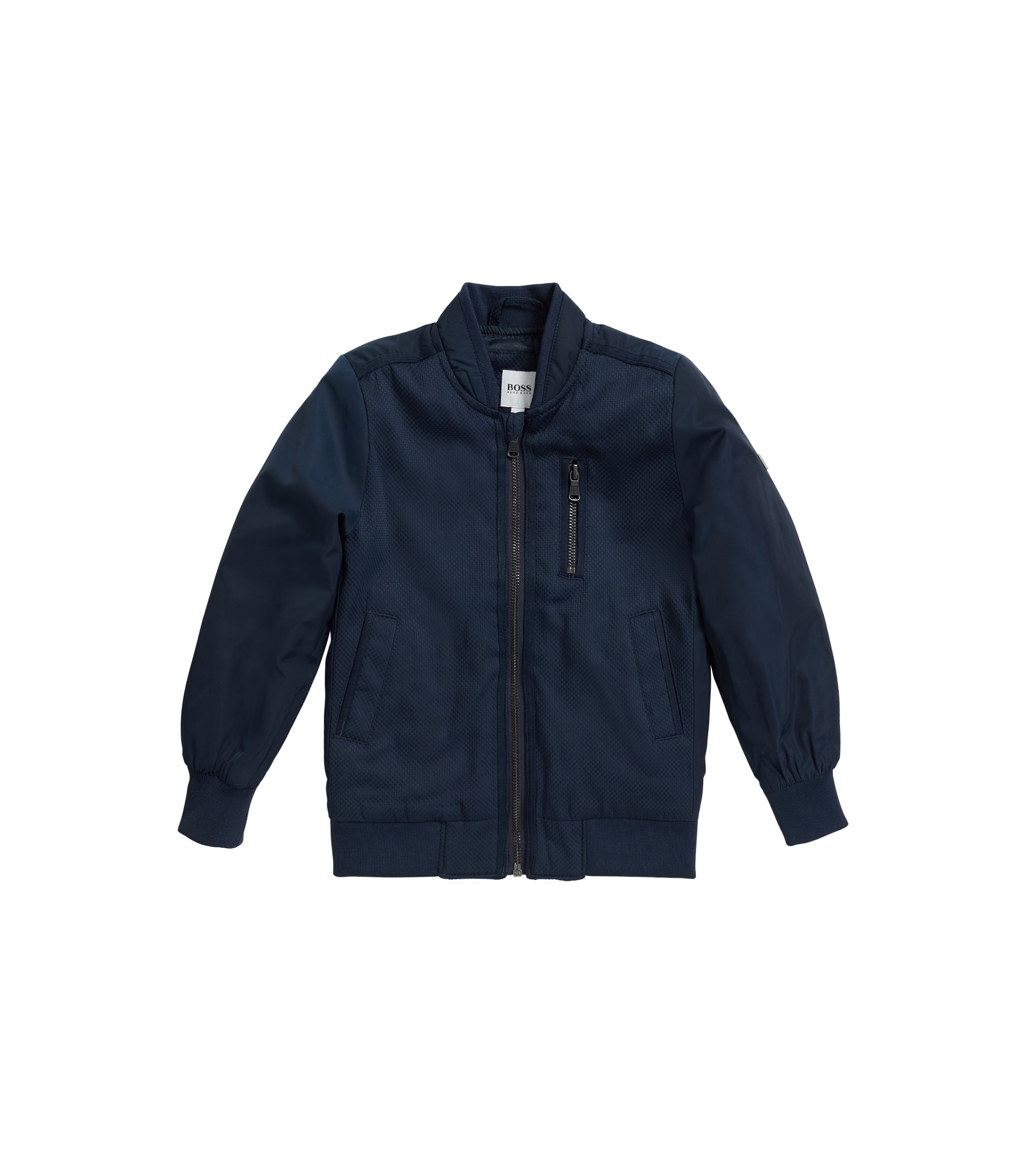 Kids' bomber jacket with jacquard lining, Dark Blue