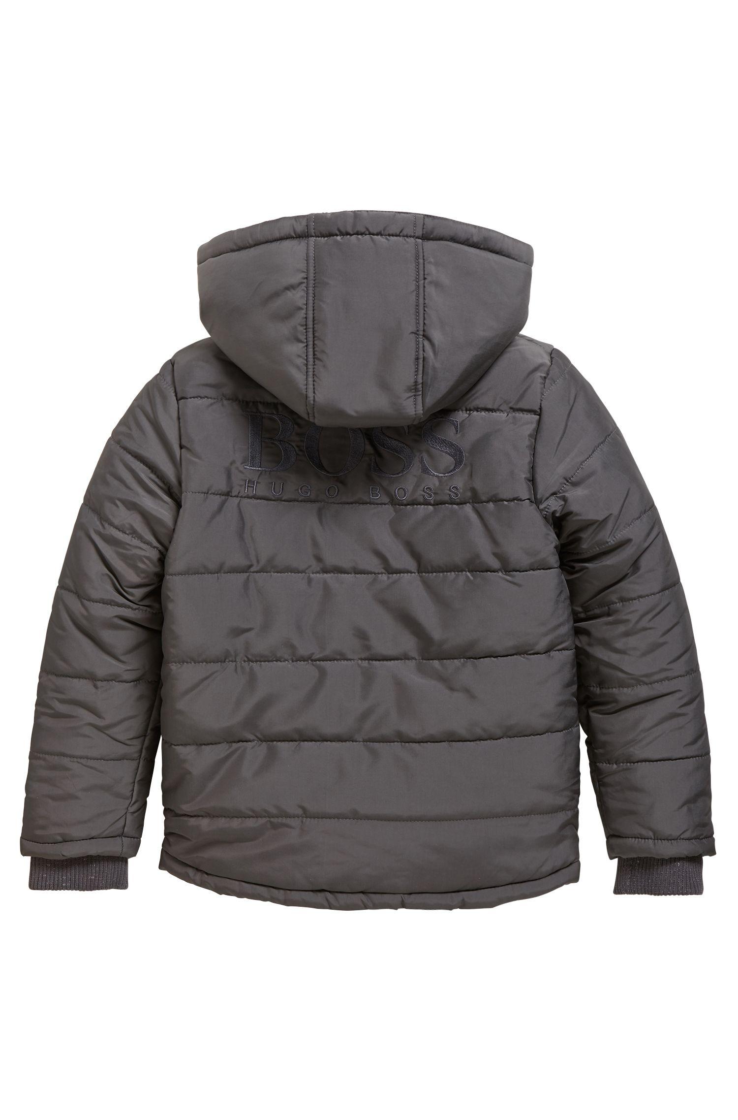 Veste matelassée pour enfant à capuche amovible, Anthracite