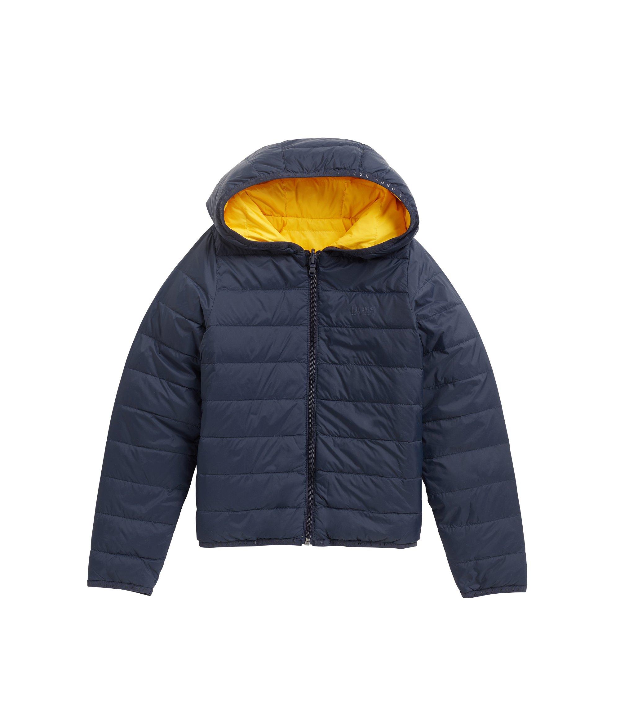 Kids' reversible down jacket with hood, Dark Blue