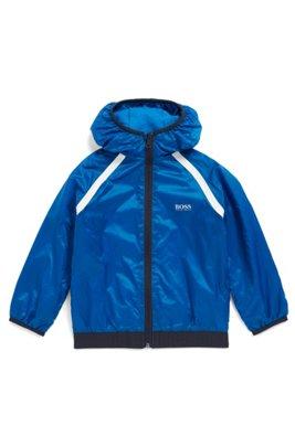 Veste coupe-vent déperlante pour enfant avec capuche à logo, Bleu
