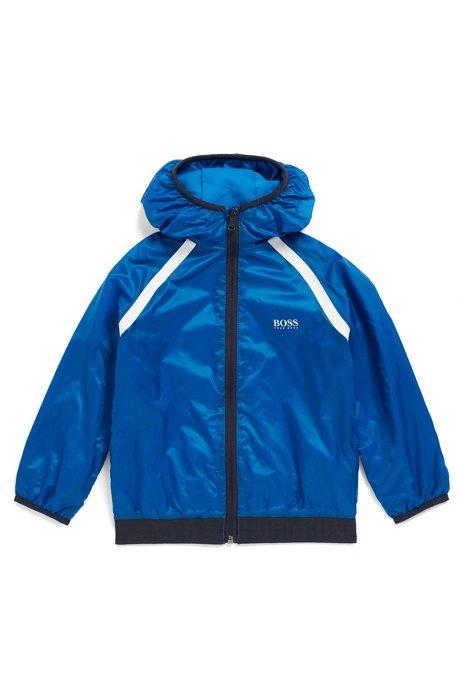 Giacca a vento idrorepellente da bambino con cappuccio con logo, Blu