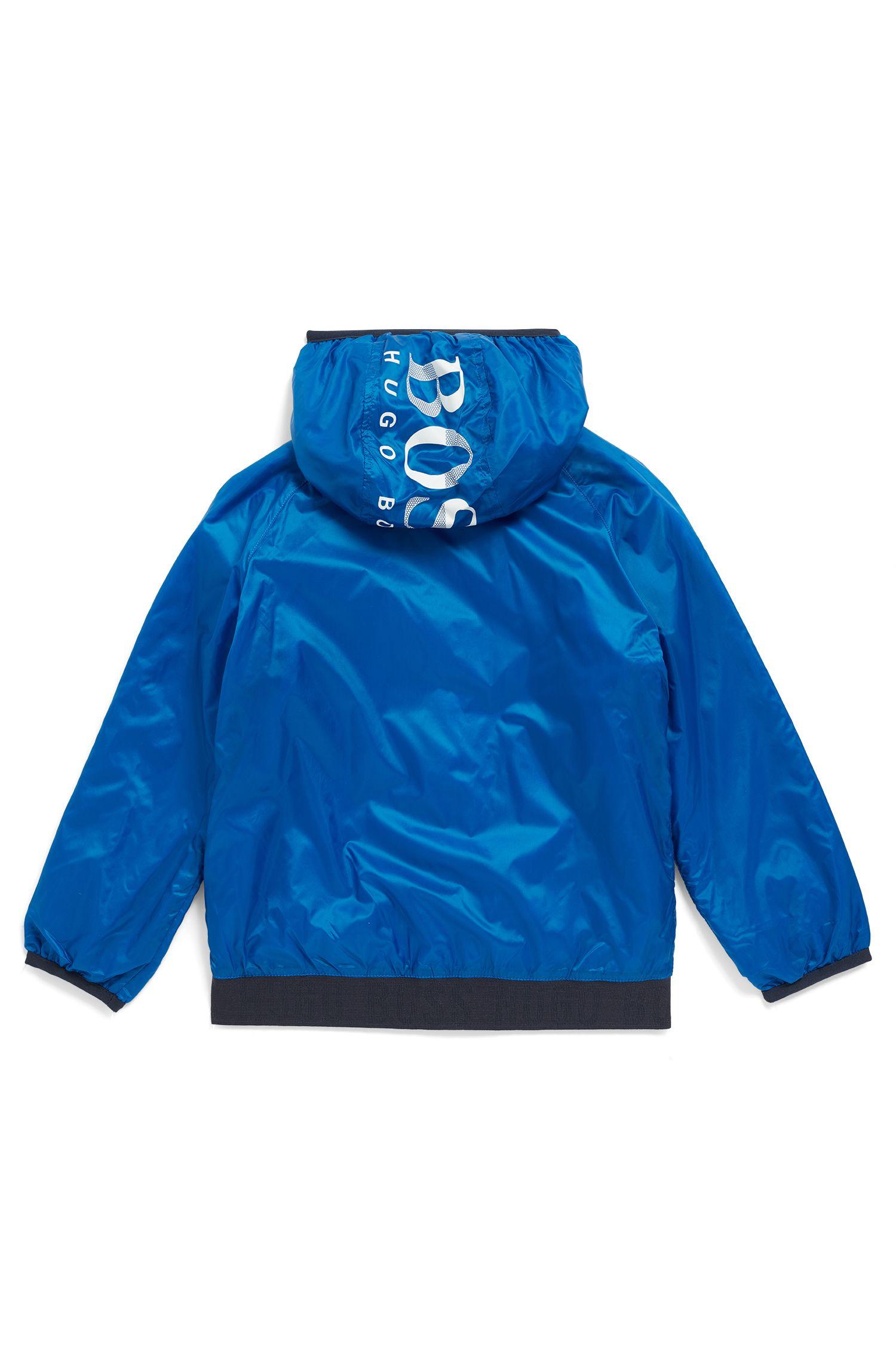 Waterafstotend windjack voor kinderen, met capuchon met logo, Blauw