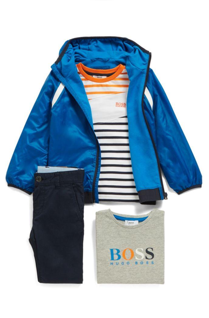 Veste coupe-vent déperlante pour enfant avec capuche à logo