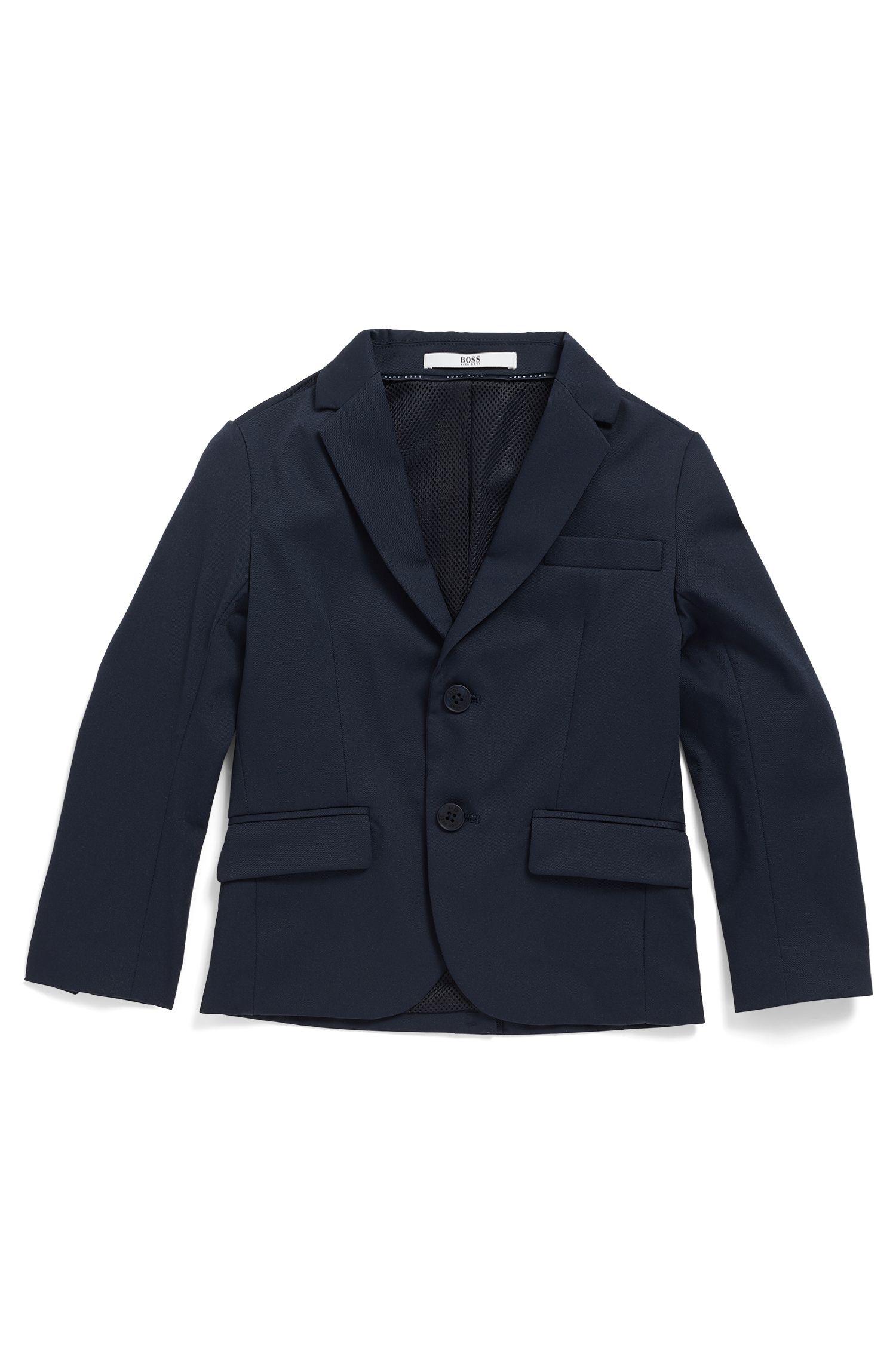 Kids' slim-fit jacket with mesh-effect lining, Dark Blue