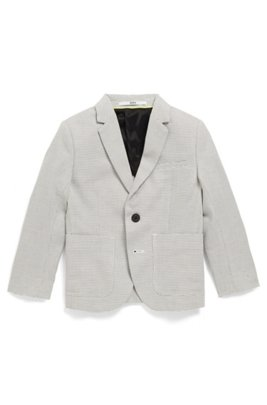 Kids' slim-fit jacket in two-tone dobby cotton, Patterned