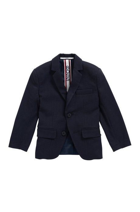 Kids' slim-fit jacket in herringbone stretch fabric, Dark Blue