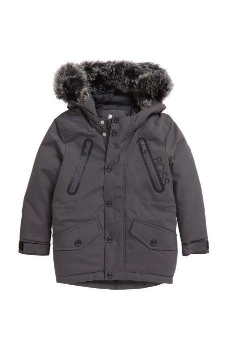 Kids' hooded parka jacket in water-repellent fabric , Dark Grey