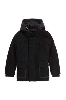 Manteau à capuche en laine mélangée, pour enfant, Noir