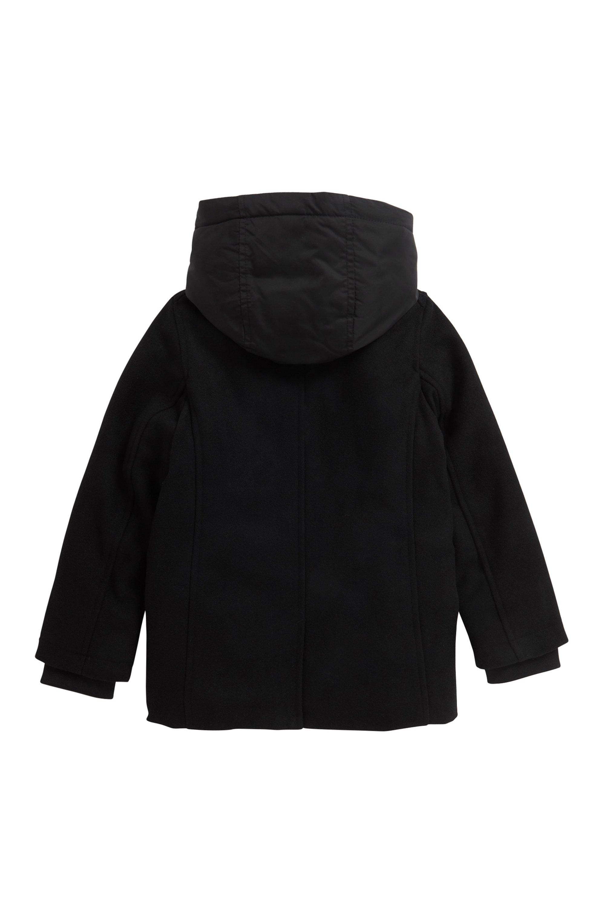 Manteau à capuche en laine mélangée, pour enfant