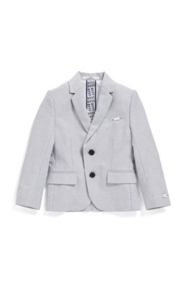 Veste Slim Fit pour enfant en chambray de coton stretch, Gris chiné